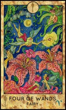 Flower fairies. Minor Arcana Tarot Card. Four of Wands