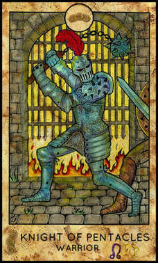 Warrior. Minor Arcana Tarot Card. Knight of Pentacles