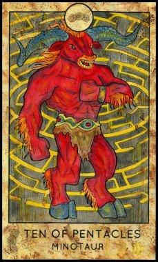 Minotaur. Minor Arcana Tarot Card. Ten of Pentacles