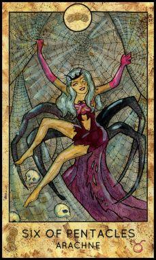 Gorgon. Minor Arcana Tarot Card. Six of Pentacles