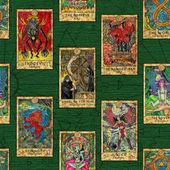 Seamless background with layout of colorful Tarot cards