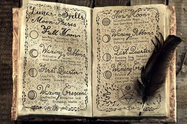 Open book with lunar magic spells and quill.