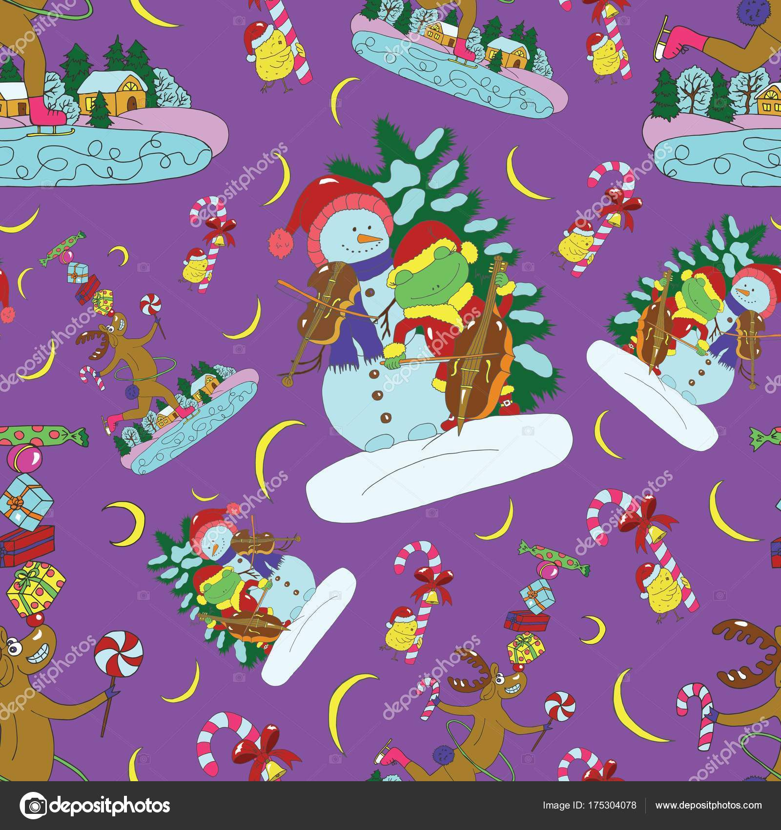 Seamless Pattern Singing Snowman Frog Deer Gifts Christmas