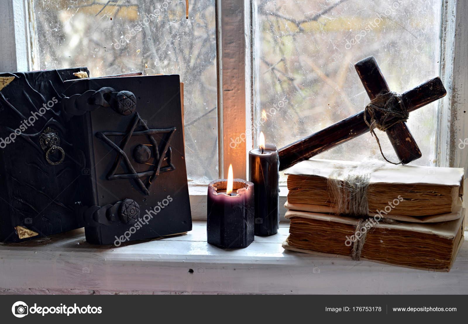 Black Magic Books Black Candles Cross Old Window Occult