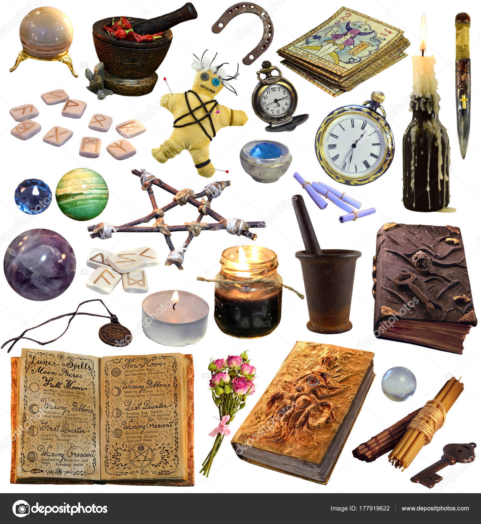 Big Set Magic Occult Objects Isolated White Occult Esoteric
