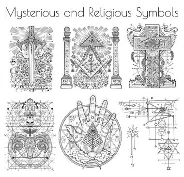 Design collection with graphic illustration of mystic and religious organizations. Freemasonry and secret societies emblems, occult and spiritual mystic drawings. Tattoo design, new world order