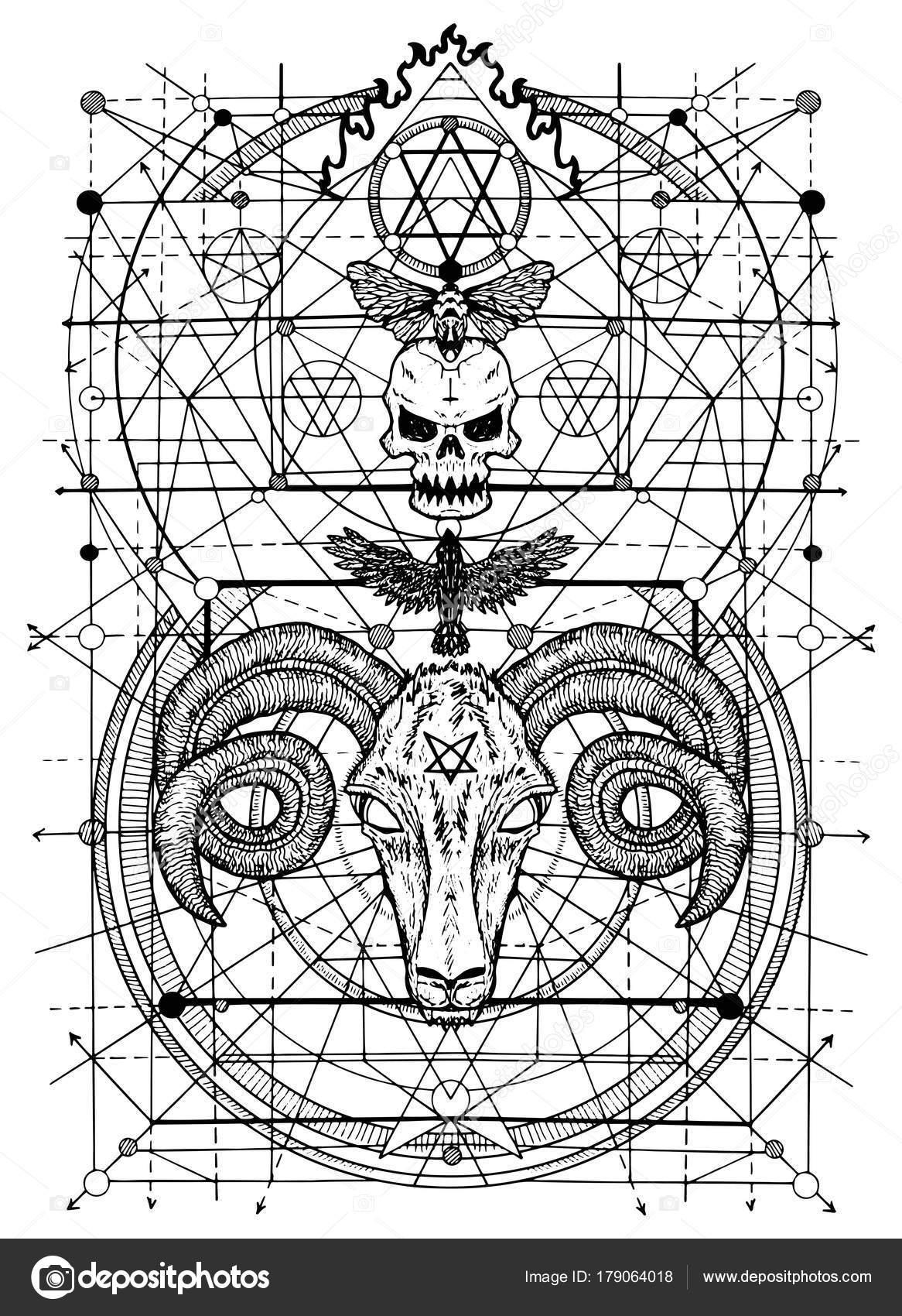 死と悪魔の兆候のシンボルのイラスト ファンタジーと秘密結社の