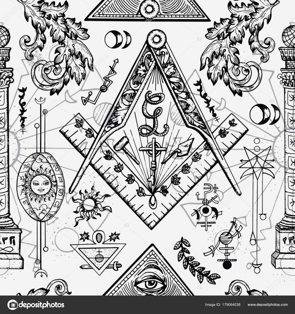 Seamless Background Mason Mysterious Symbols Fantasy Freemasonry