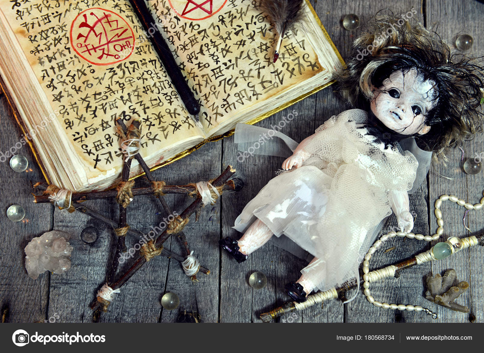Scary Doll Pentagram Open Magic Book Evil Symbols Witch Table