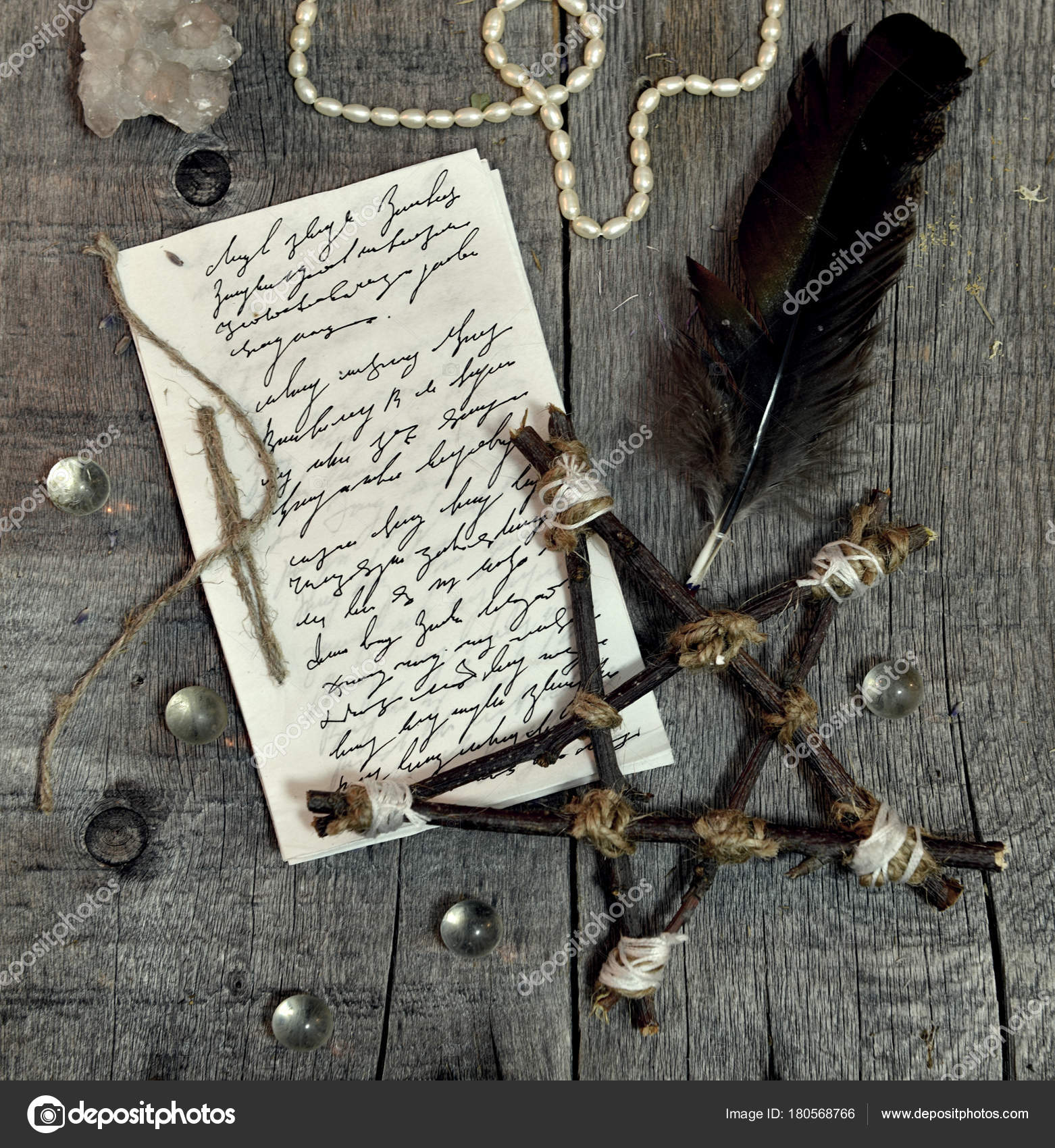 Paper manuscript hand written text pentagram quill planks occult occult esoteric divination and wicca concept halloween vintage background no foreign text all symbols on pages are fantasy imaginary ones biocorpaavc