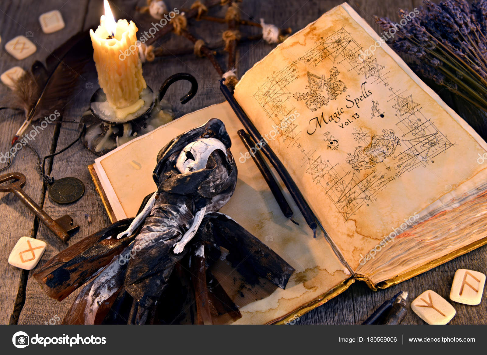 Old Book Black Magic Spells Scary Doll Rune Burning Candle