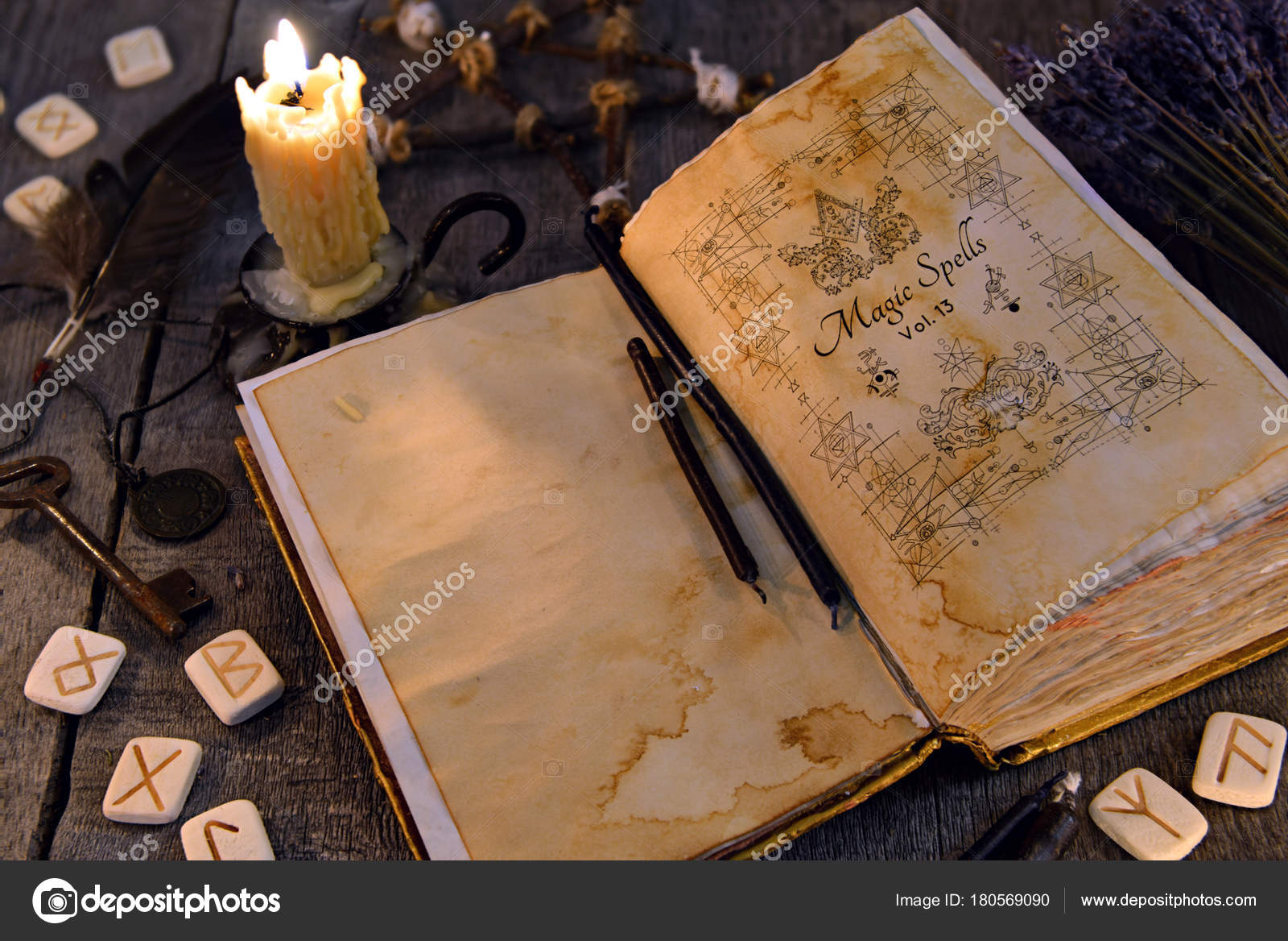 Open Old Book Magic Spells Runes Candle Key Witch Table — Stock