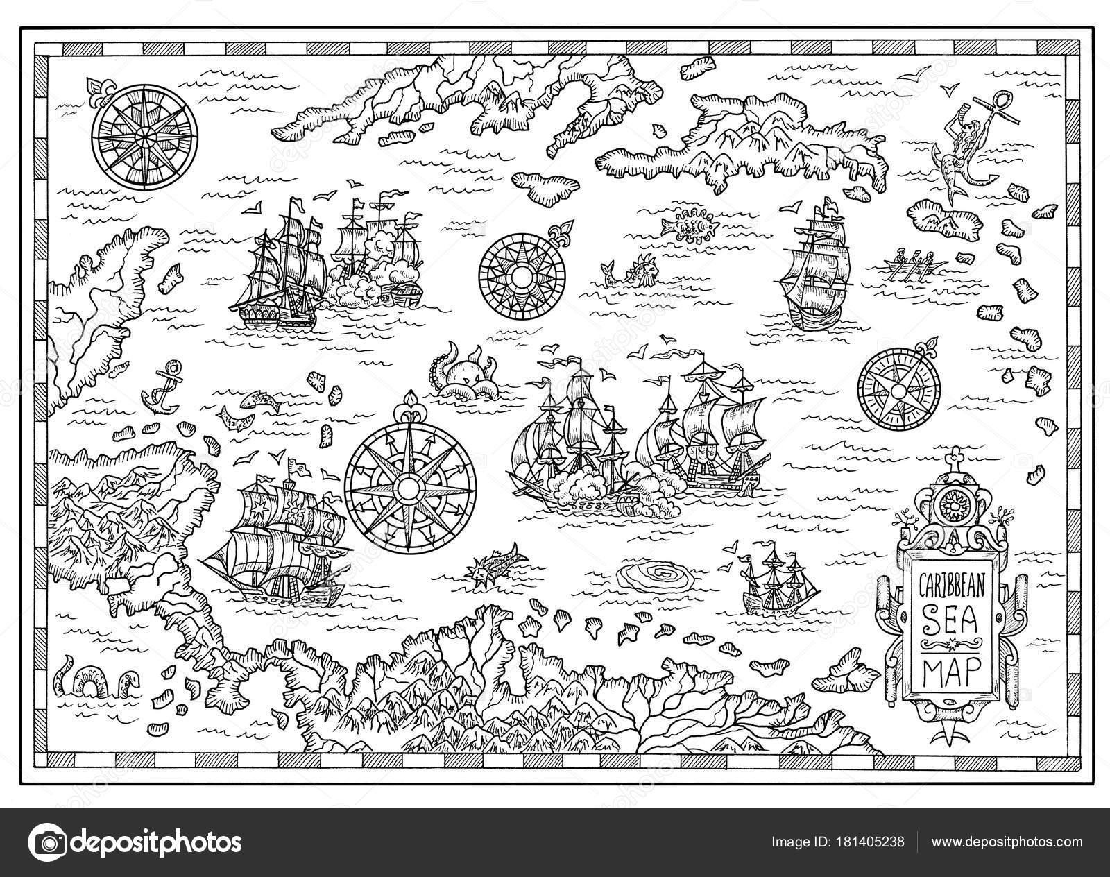 Carte Au Tresor Noir Et Blanc.Carte Pirate Noir Blanc Mer Des Caraibes Avec Vieux