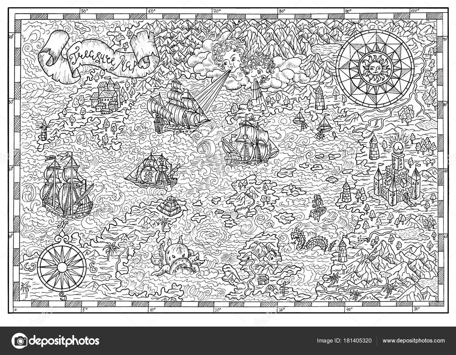 Carte Au Tresor Noir Et Blanc.Carte Pirate Noir Blanc Avec Vieux Voiliers Compas Creatures
