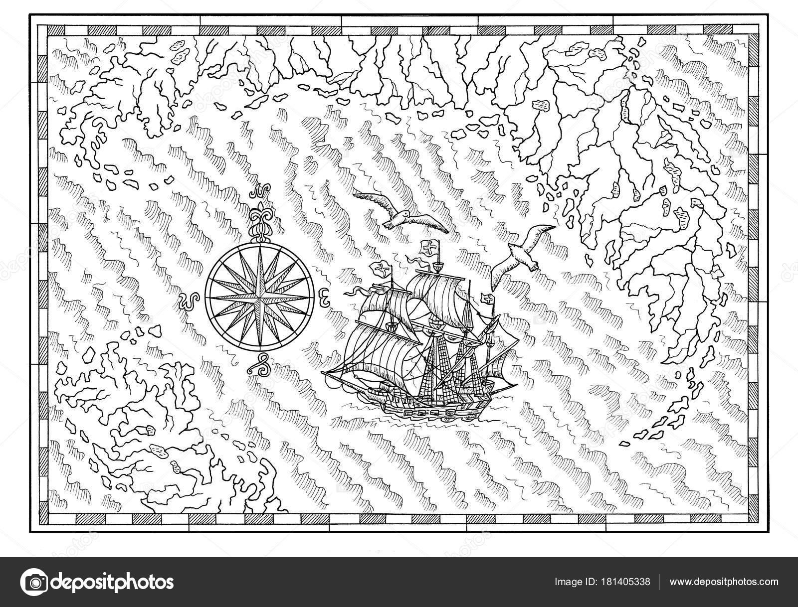 Carte Au Tresor Noir Et Blanc.Carte Mer Noir Blanc Avec Vieux Voilier Compas Aventures