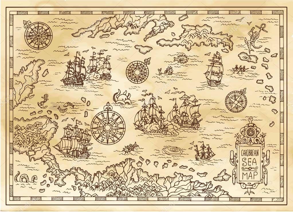 carte ancienne pirate mer des cara u00efbes avec des navires