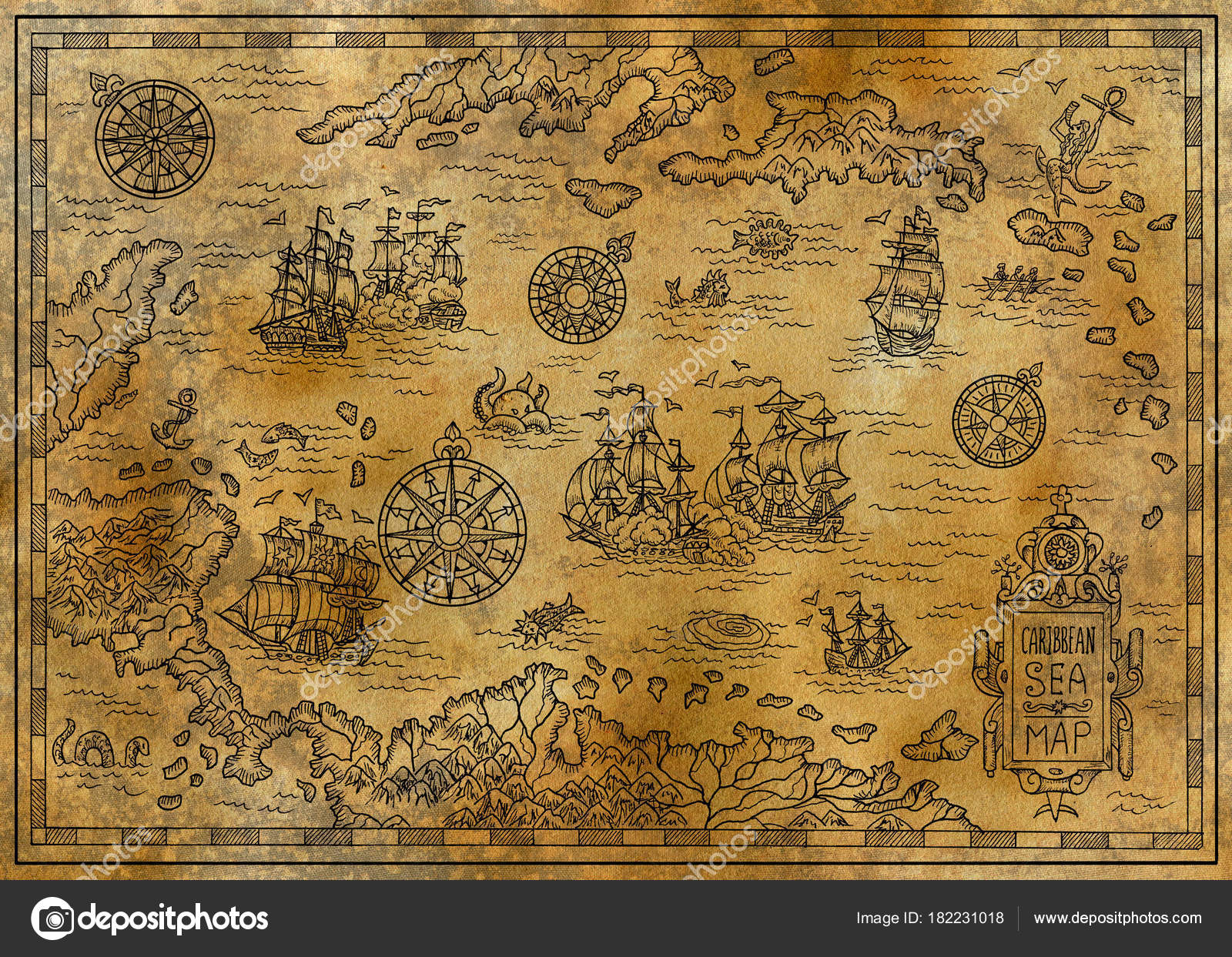 Old Map Caribbean Sea Decorative Fantasy Elements Pirate Sailing ...