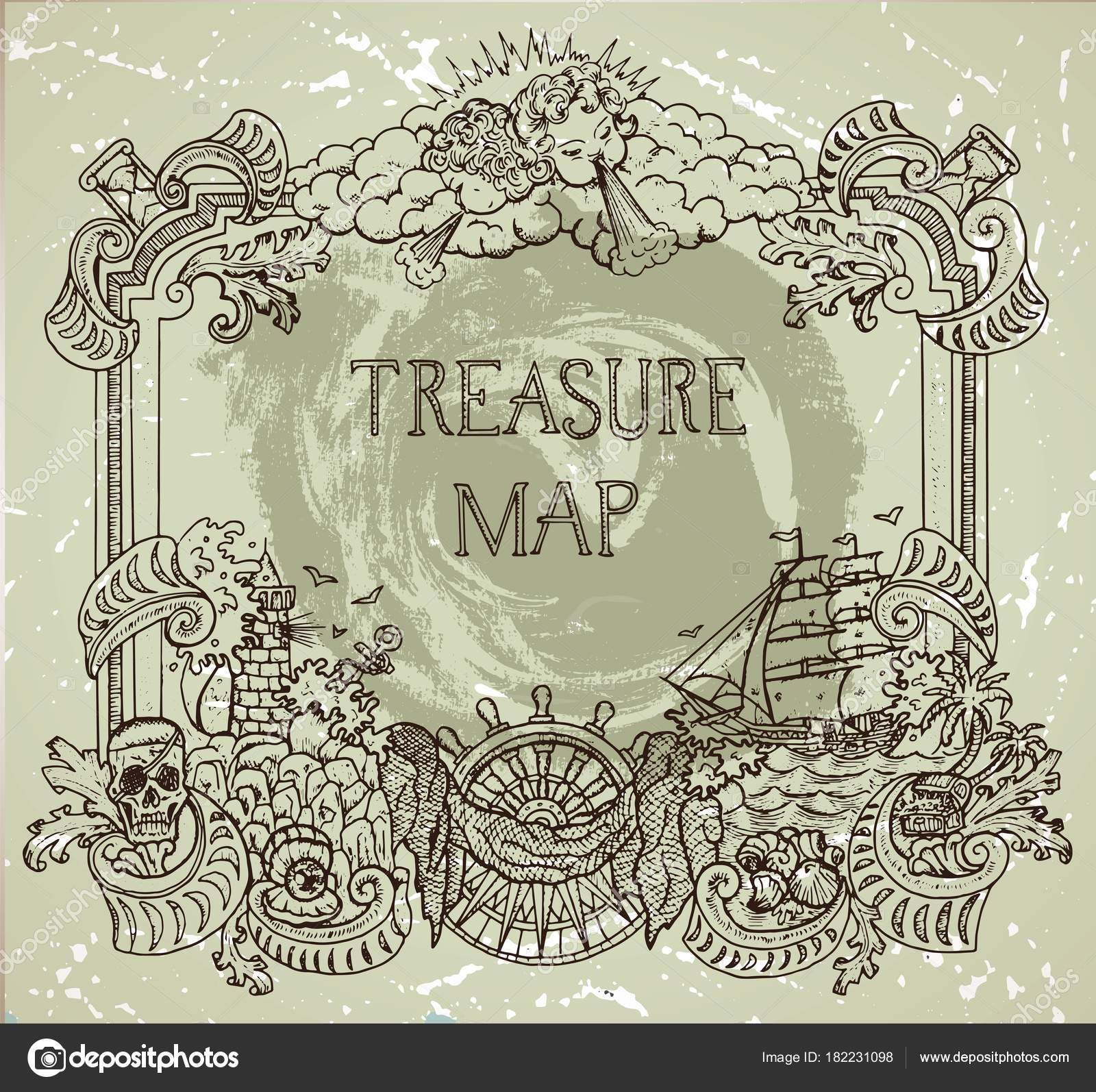 Hand Drawn Decorative Frame Pirate Treasure Concept Old Ships Stock Vector
