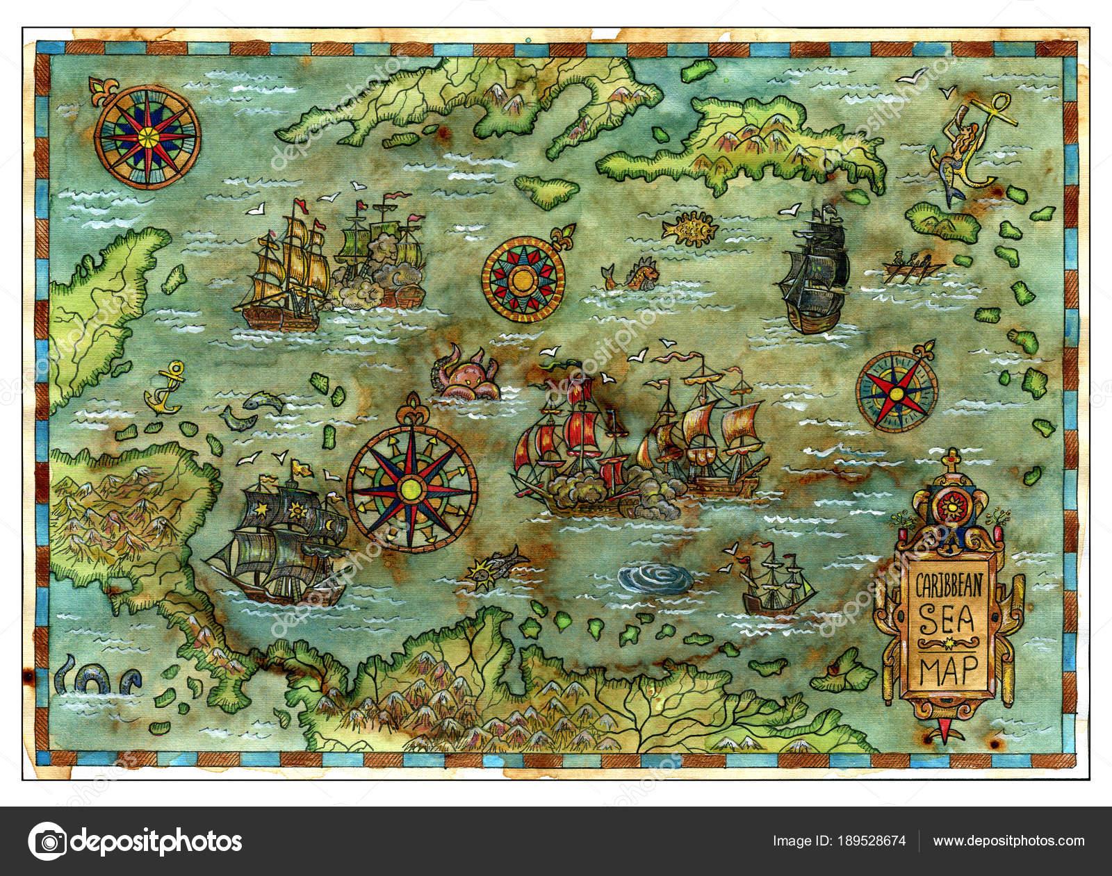 Ancient Caribbean Sea Map Pirate Ships Islands Decorative Antique ...