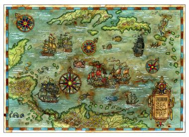 Ancient Caribbean sea map with pirate ships and islands. Decorative antique background with nautical chart, adventure treasures hunt concept, watercolor hand drawn illustration