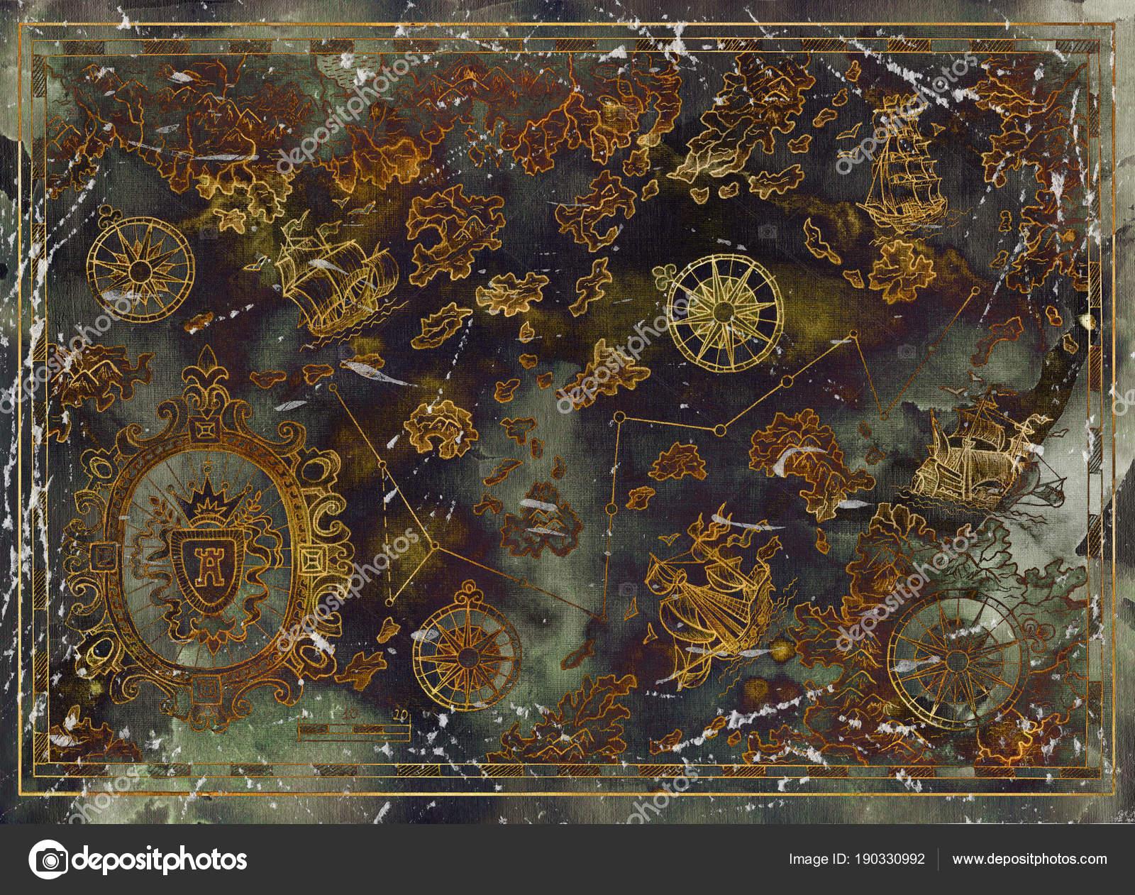 Imágenes Tesoros Piratas Hermoso Mapa Con Tesoros Piratas Viejos
