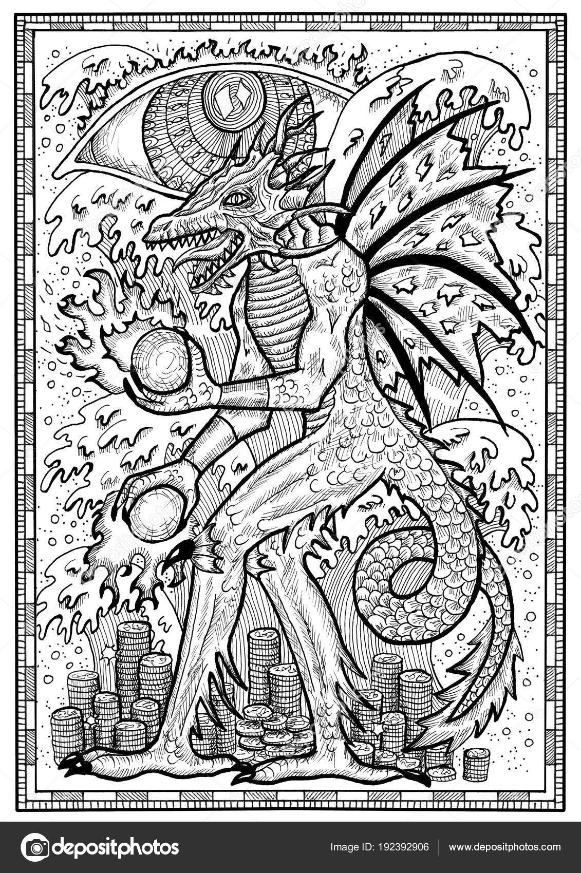 Dragon Symbol Frame Monster Demon Wings Waves Fire Balls Treasures ...