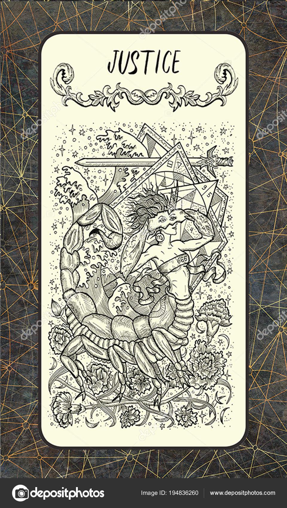 Justice Major Arcana Tarot Card Magic Gate Deck Fantasy