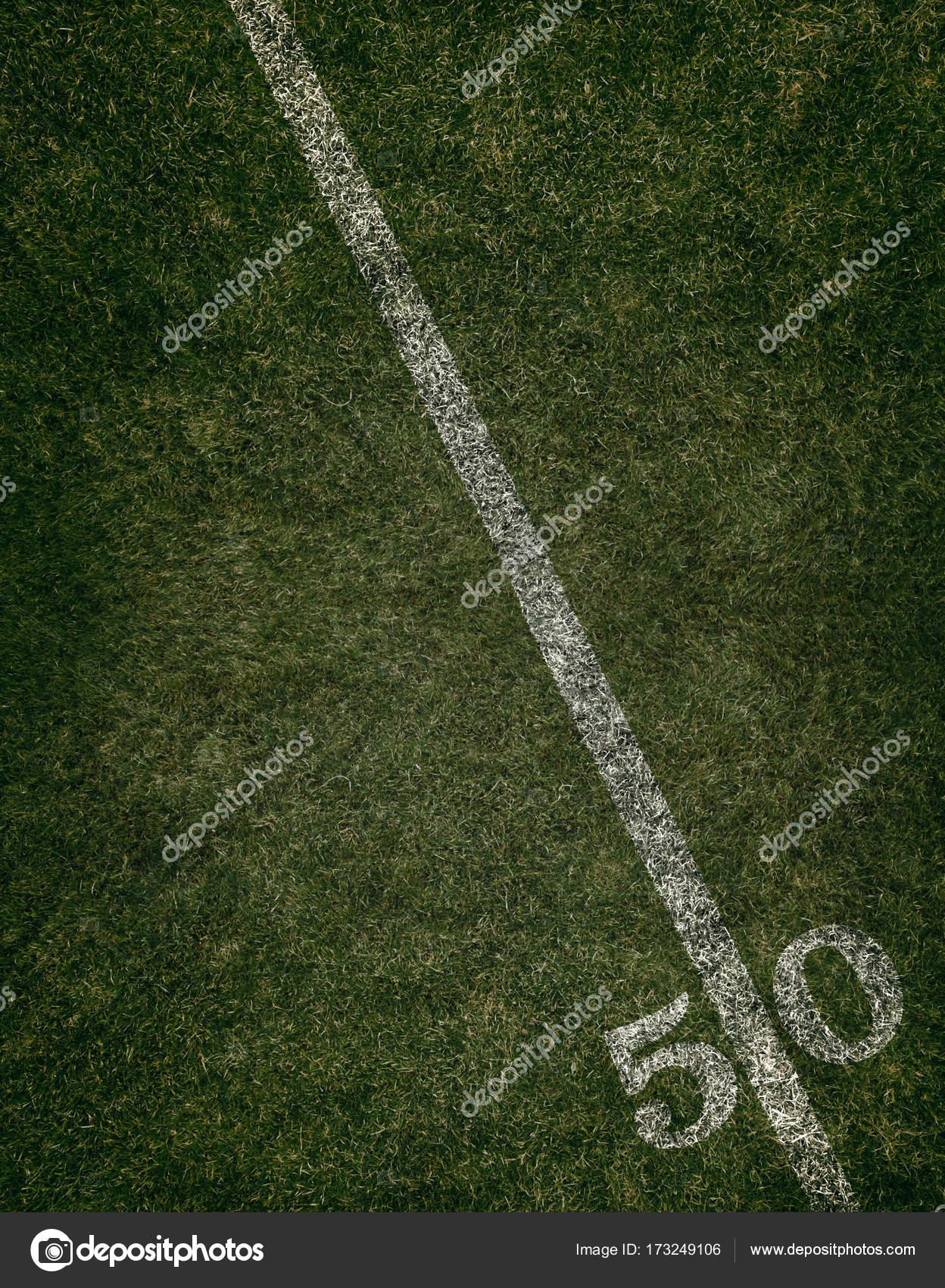 Football Field Grass Ground Fifty Yard Line. Friday Night Lights. U2014 Stock  Photo