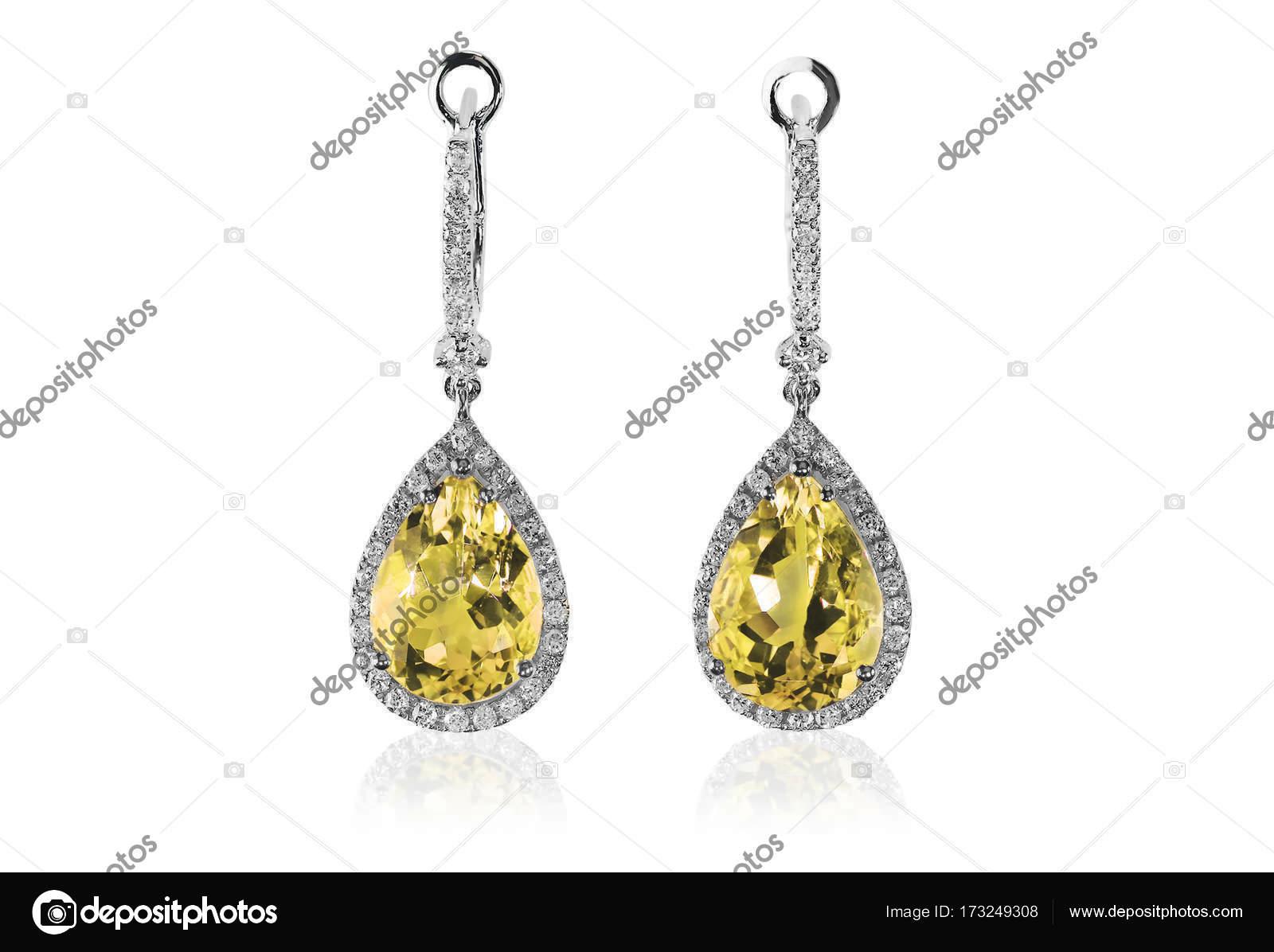 f3f049c7158 Linda almofada de Topázio Amarelo citrino de pedras preciosas diamante  corta formato pera brincos de diamante