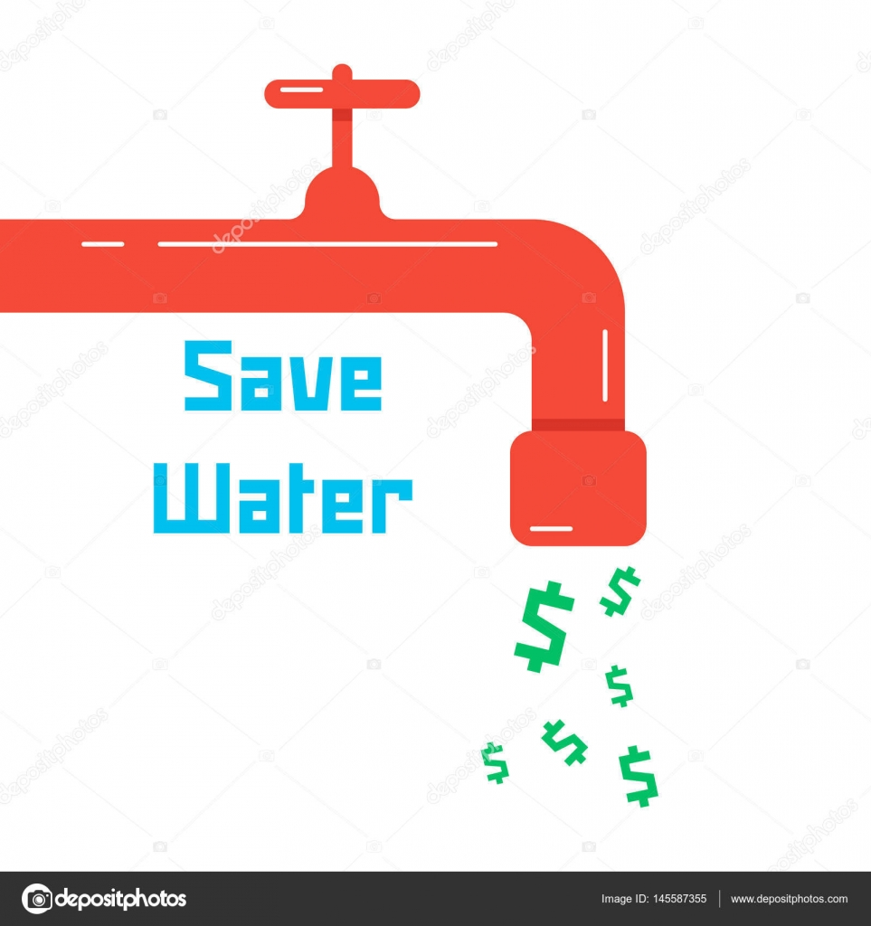 save water with red faucet — Stock Vector © HoldenKolf #145587355