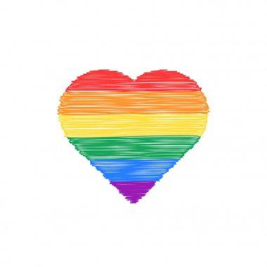 scribble colored heart icon