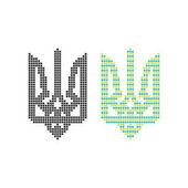 black and colored pixel art ukrainian emblem