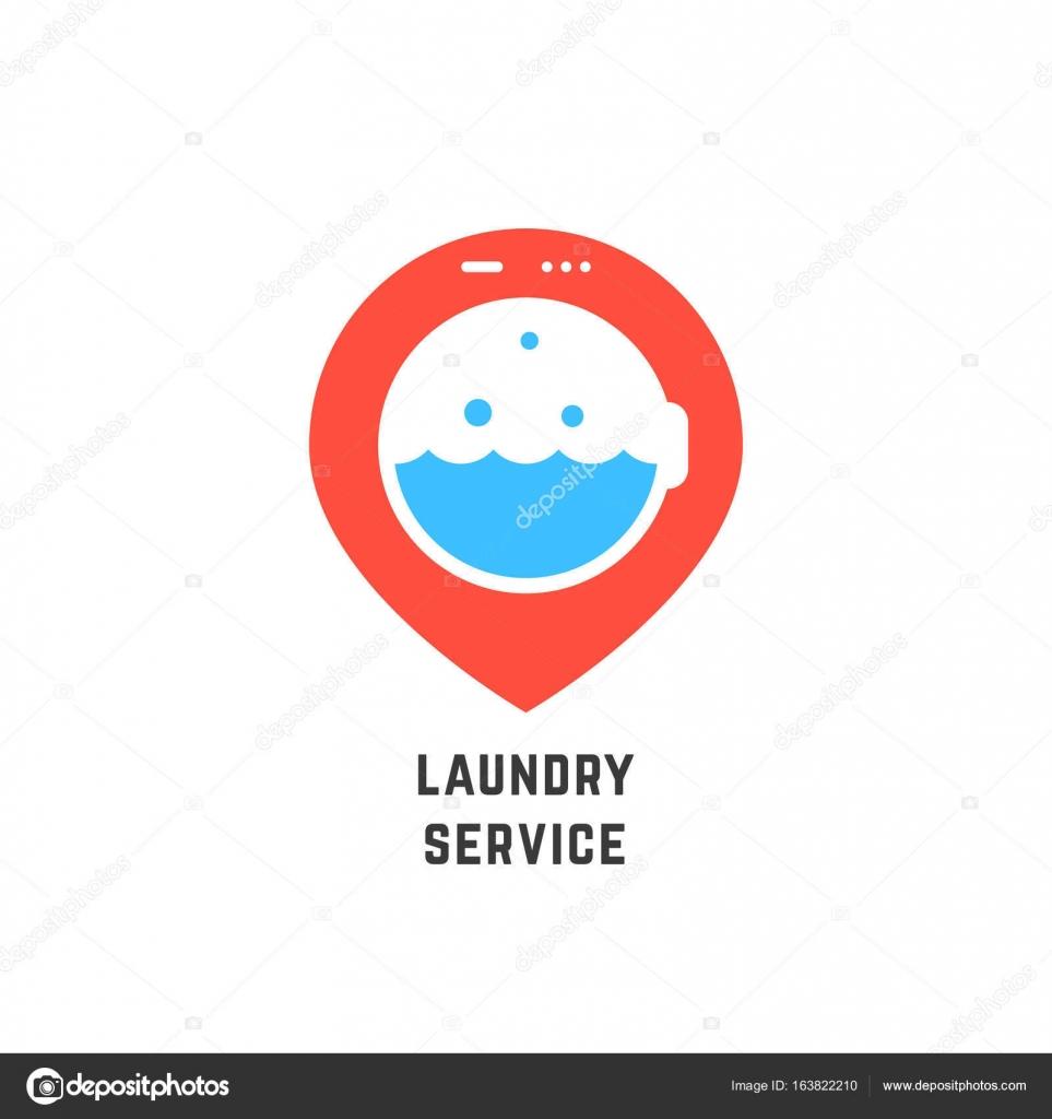 Map Pin Like Laundry Service Logo Stock Vector Holdenkolf 163822210