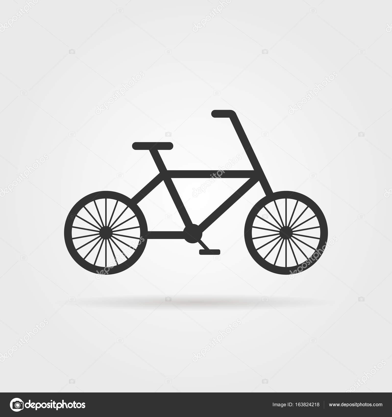 schwarze einfache Fahrrad Emblem mit Schatten — Stockvektor ...