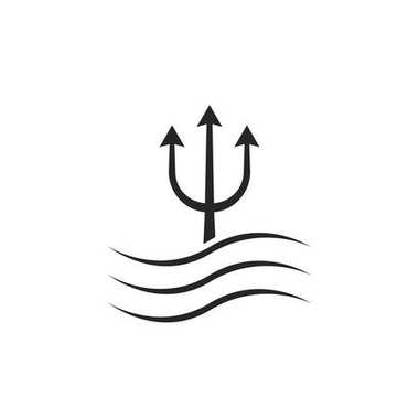 black trident icon with waves