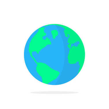 Simple planet earth icon with shadow