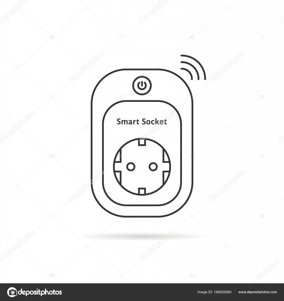 dünne Linie intelligente Steckdose — Stockvektor © HoldenKolf #166929360