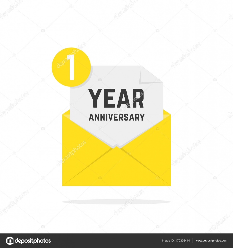 1 year anniversary icon in yellow letter stock vector