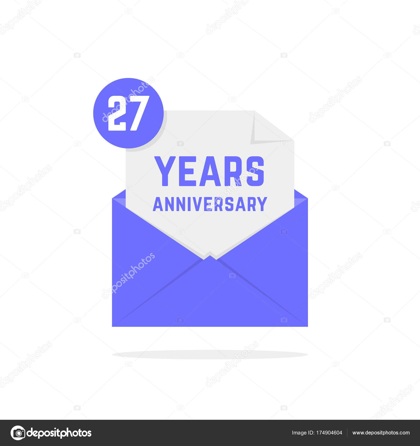 27 Jaar Verjaardag Pictogram In Open Brief Stockvector