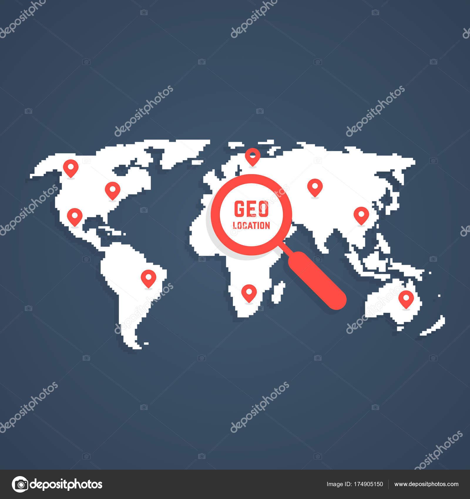 Géo Localisation Avec Carte Du Monde Pixel Art Image