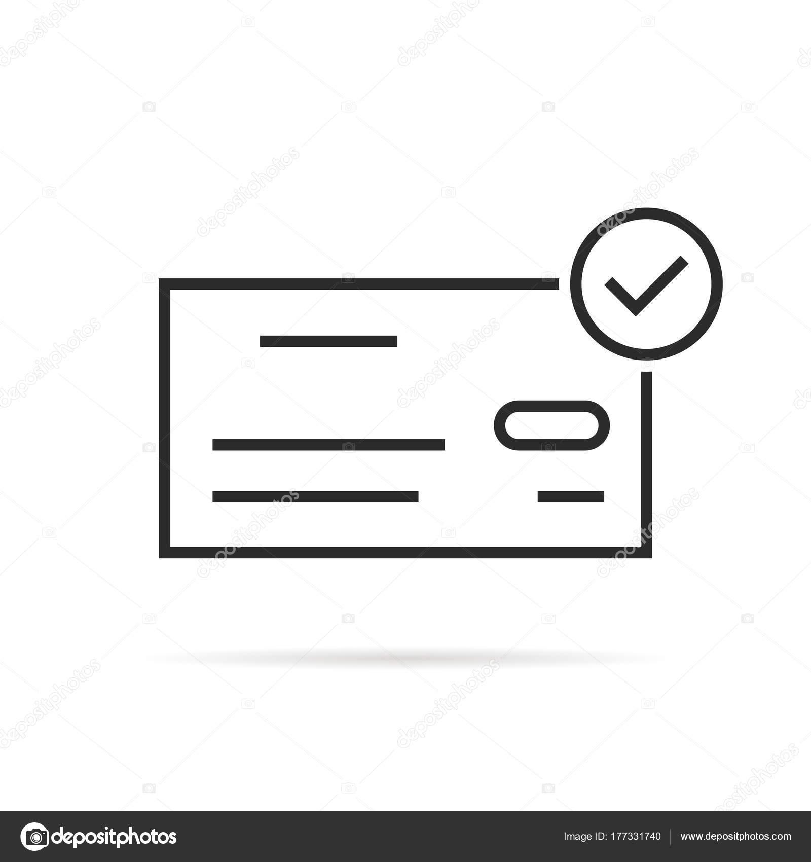 Thin Line Bank Check Icon Like Salary Stock Vector Holdenkolf