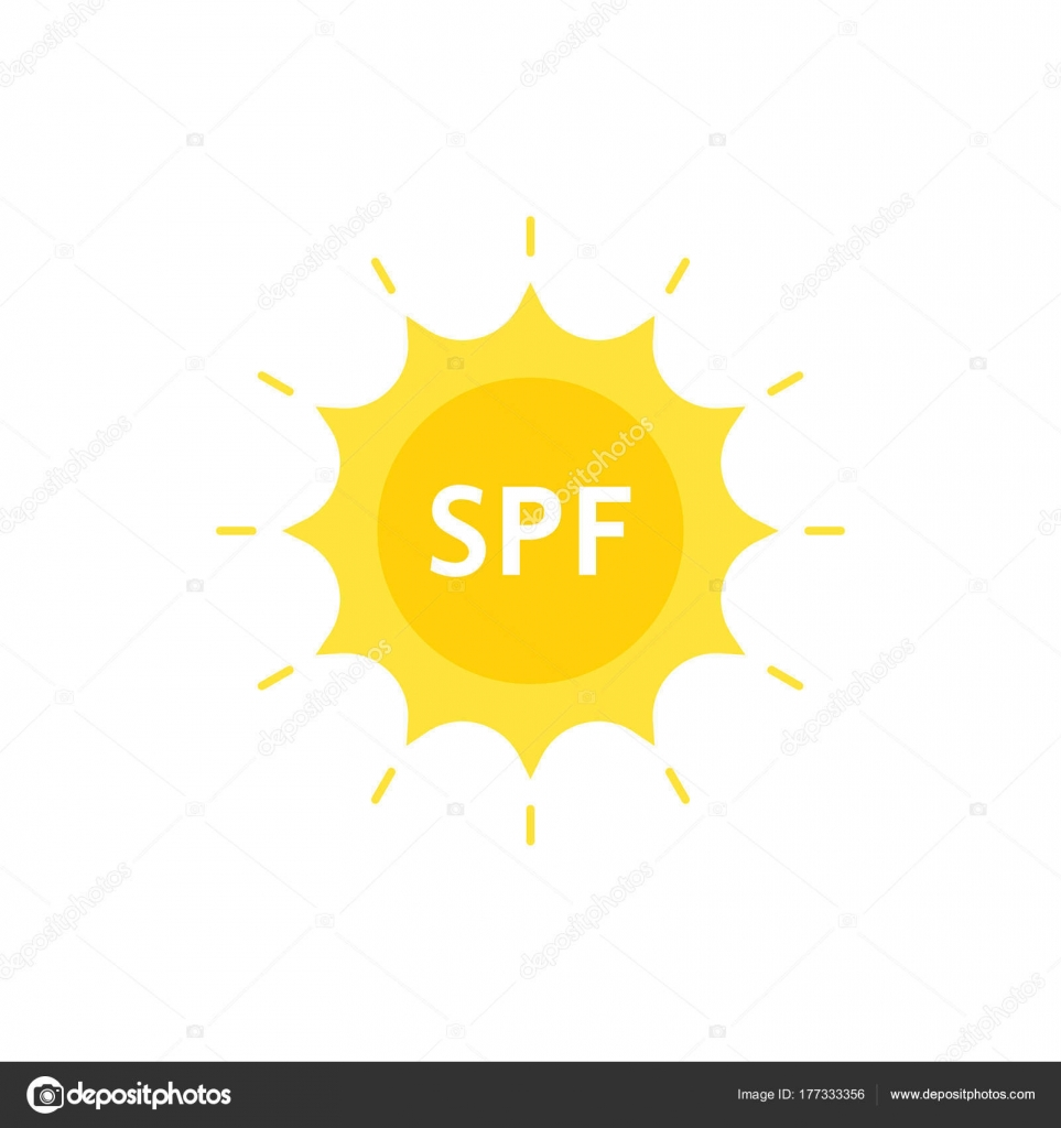 Spf like sun protection factor on sun logo stock vector spf like sun protection factor on sun logo flat style logotype graphic design on white background concept of yellow emblem for cosmetic tube with lotion biocorpaavc Image collections