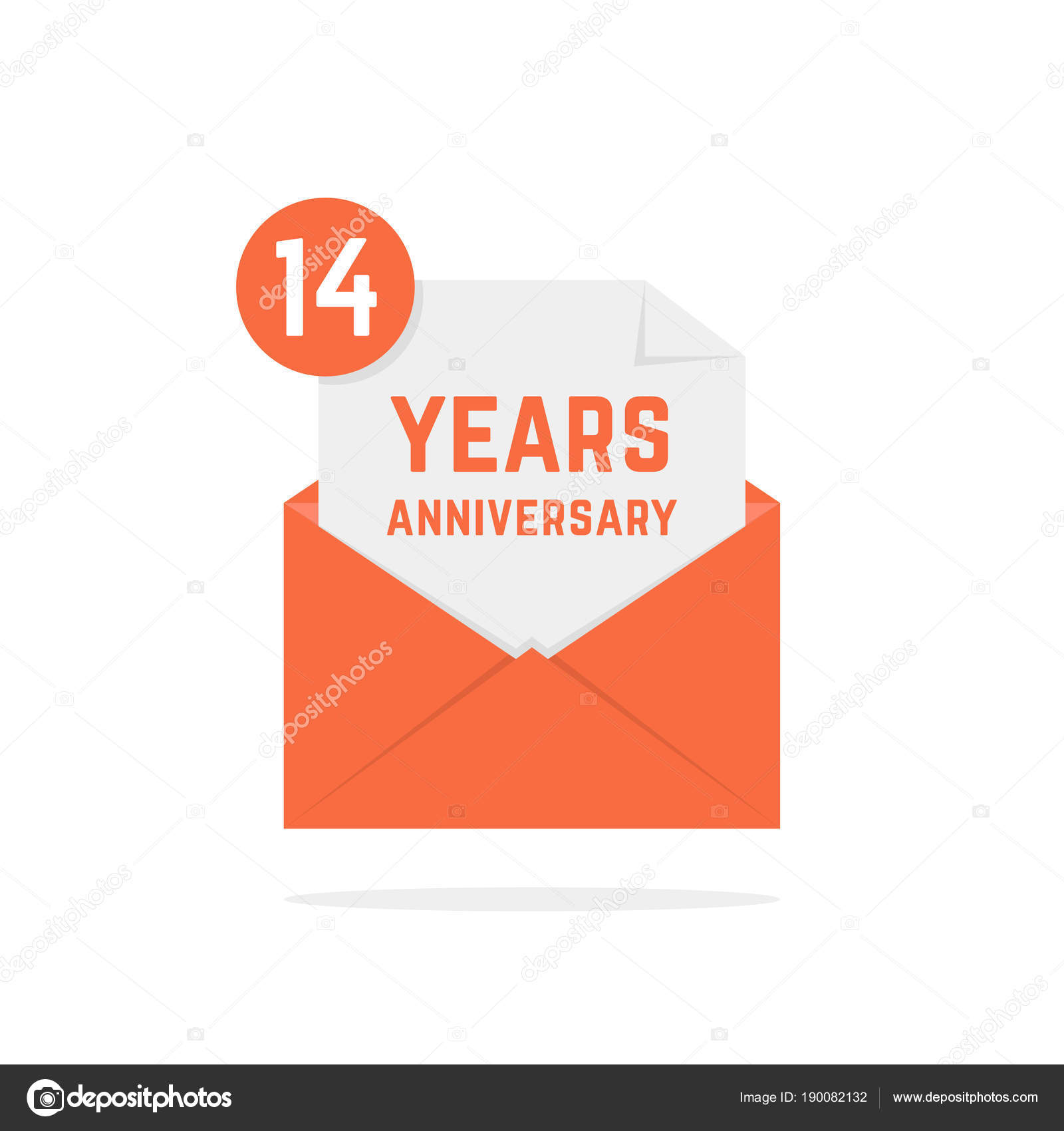 14 years anniversary icon in orange open letter — Stock Vector ...