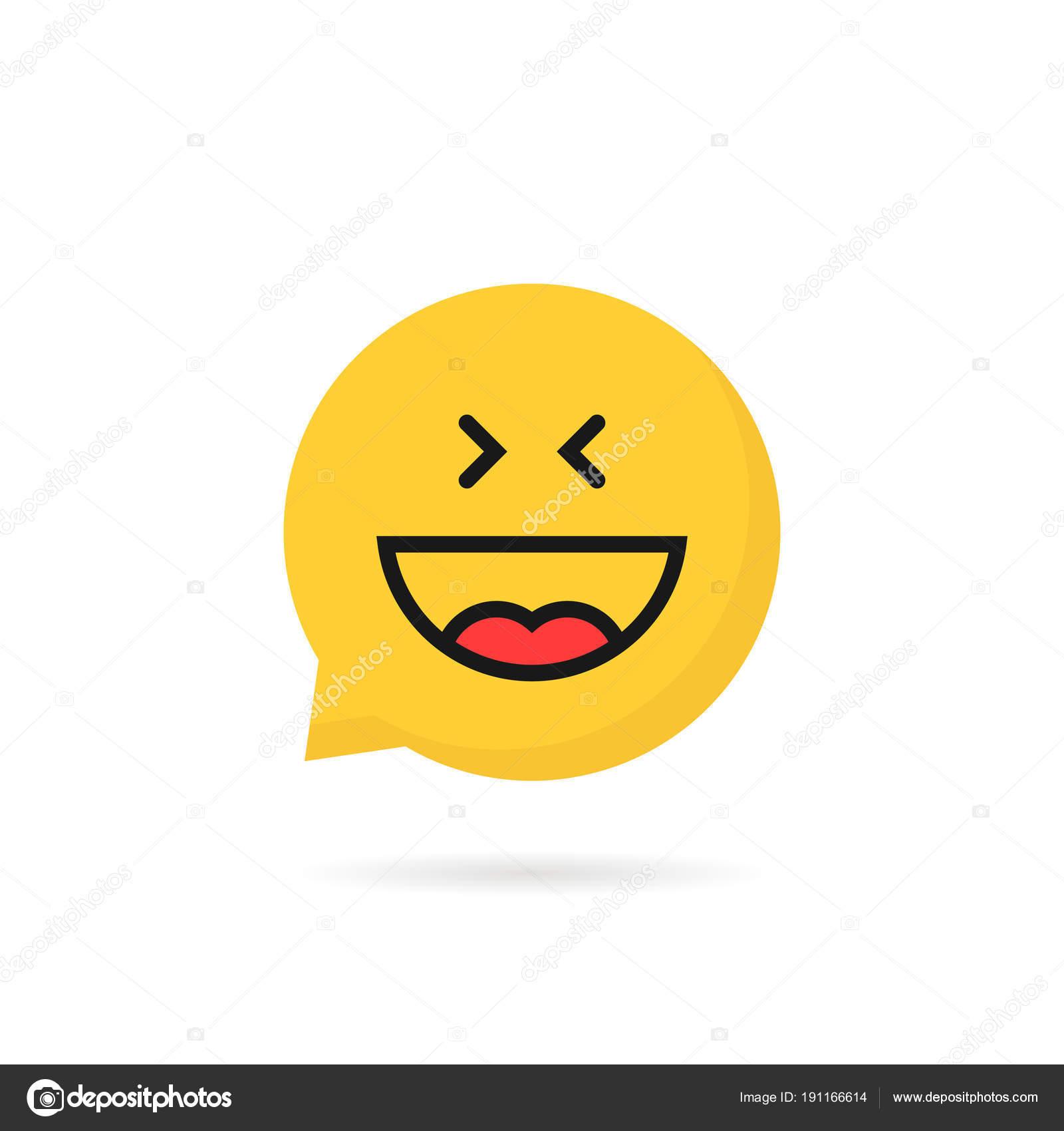 Laugh emoji speech bubble logo on white background — Stock Vector