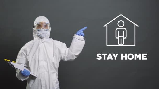 Vorsichtsmaßnahmen zum Ausbruch des Virus, Präventivmaßnahmen, Sicherheitshinweise. Der Arzt Epidemiologe gibt Ratschläge Infografiken. Coronavirus-Quarantäne, Virologen zeigen Warnsymbole. Zuhause bleiben, Hände waschen.