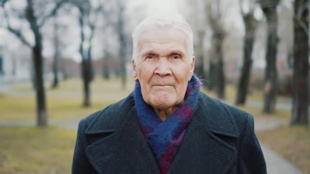 Portrét šedovlasého staršího muže hledícího do kamery. 90 let osoba.