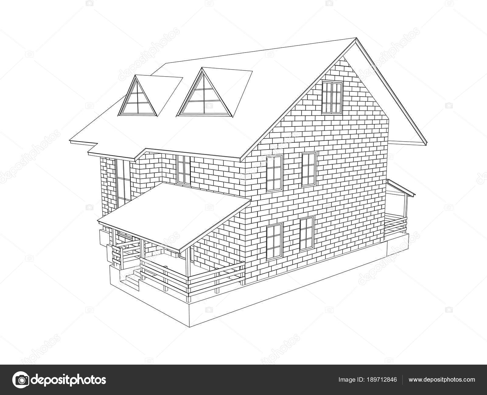 3d Illustration Of A Two Storey Cottage House Line Drawing Walls From Blocks View 2 Modeling Photo By Kev4637mailru