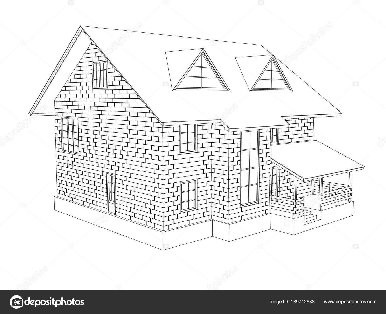 Illustration Two Storey Cottage House Line Drawing Walls Blocks