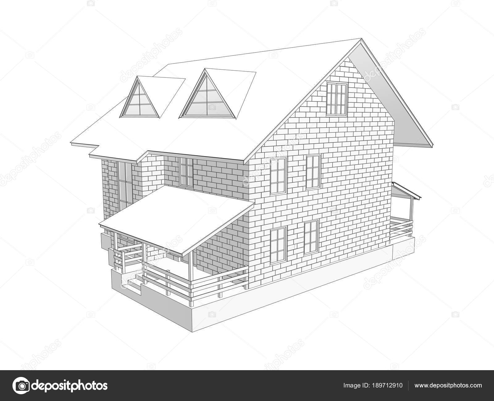 Illustration Two Storey Cottage House Linear Tonal Drawing Walls
