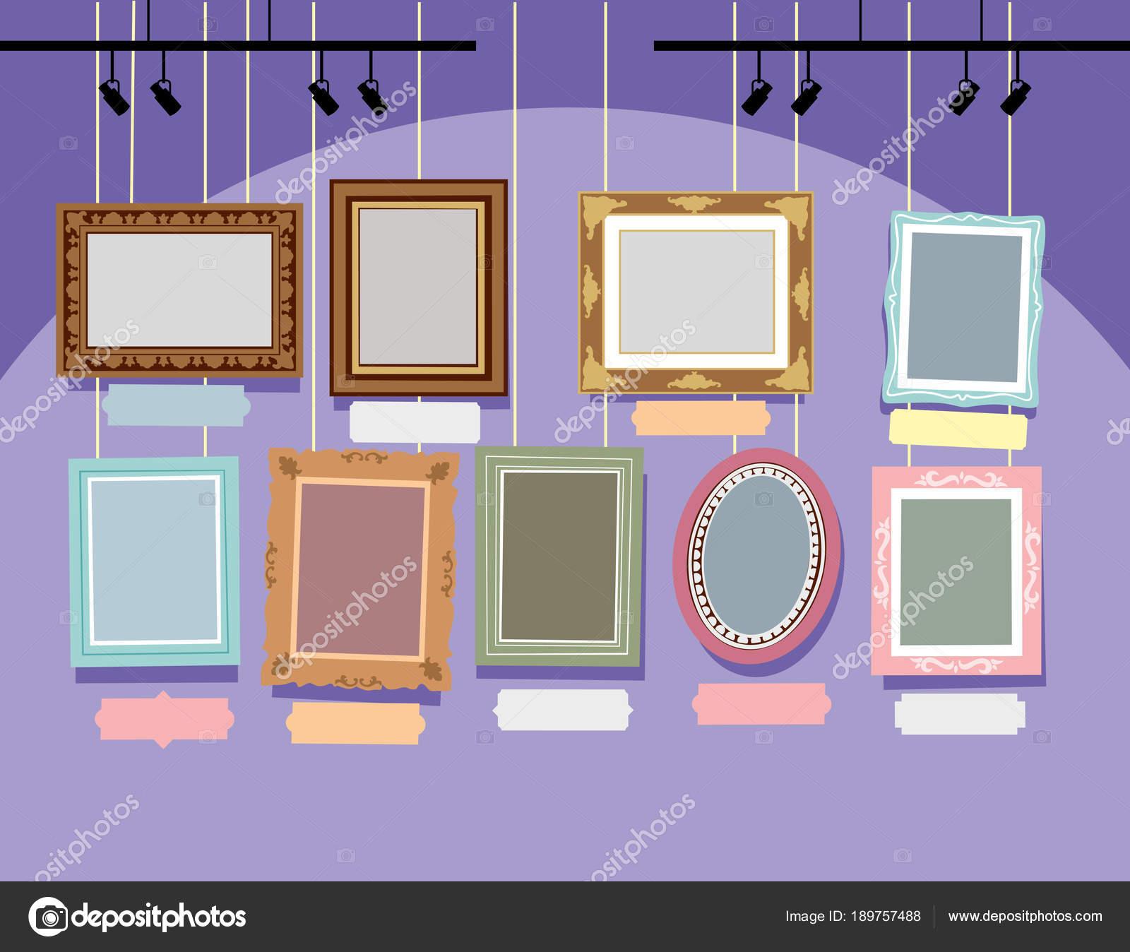Marcos Diferentes Pintados Una Pared Color Púrpura Dibujo Vectorial ...